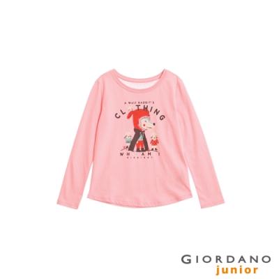 GIORDANO 童裝可愛手繪風印花長袖T恤-62 石英粉紅