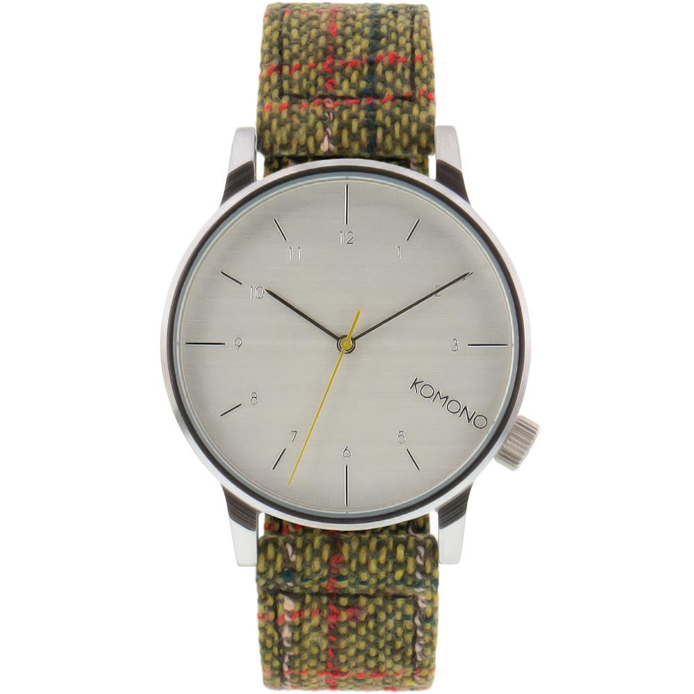 KOMONO Winston Tweed 腕錶-綠光斜紋軟呢/41mm