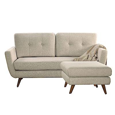 品家居 比可亞麻布實木L型沙發(二人+凳)-164x154x61-免組