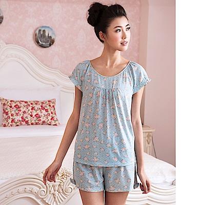 華歌爾睡衣-居家休閒二件式 M-L 睡衣褲裝(花朵藍)