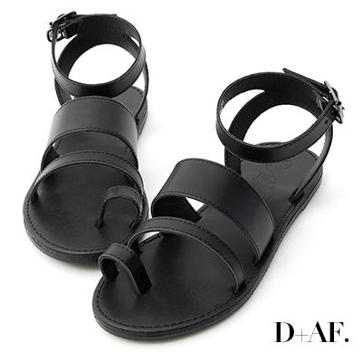 D+AF 個性焦點.一字寬帶套指平底涼鞋*黑