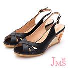 JMS-俏麗佳人米字鏤空魚口楔型涼鞋-黑色