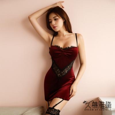 性感睡衣 絲絨美腰V蕾絲拼接短裙。紅色 久慕雅黛