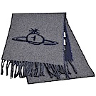 Vivienne Westwood 義大利製行星LOGO雙面撞色配色羊毛圍巾(灰/藍色)