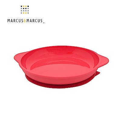 【MARCUS&MARCUS】動物樂園幼兒學習吸力餐盤-獅子(紅)