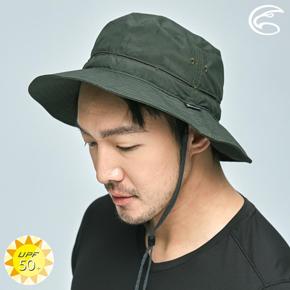 ADISI 抗UV透氣快乾撥水收納護頸兩用印花盤帽 AH21006 (M-L) / 探險森綠