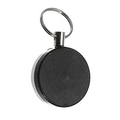 (直徑4cm)酷黑款 高彈力耐用 金屬伸縮鑰匙圈 識別證 悠遊卡 伸縮拉環(附背夾)