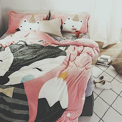 絲薇諾 櫻桃狐狸 雙人四件式-法蘭絨 鋪棉加厚床包被套組