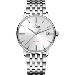 TITONI 梅花錶 LINE1919 百年紀念 T10 機械錶-銀/40mm