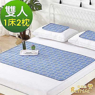 Betrise日本夯熱銷固態低反發抗菌凝膠持久冰涼墊-(雙人一床2枕)