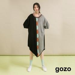gozo 七分袖拼色針織洋裝(黑色)