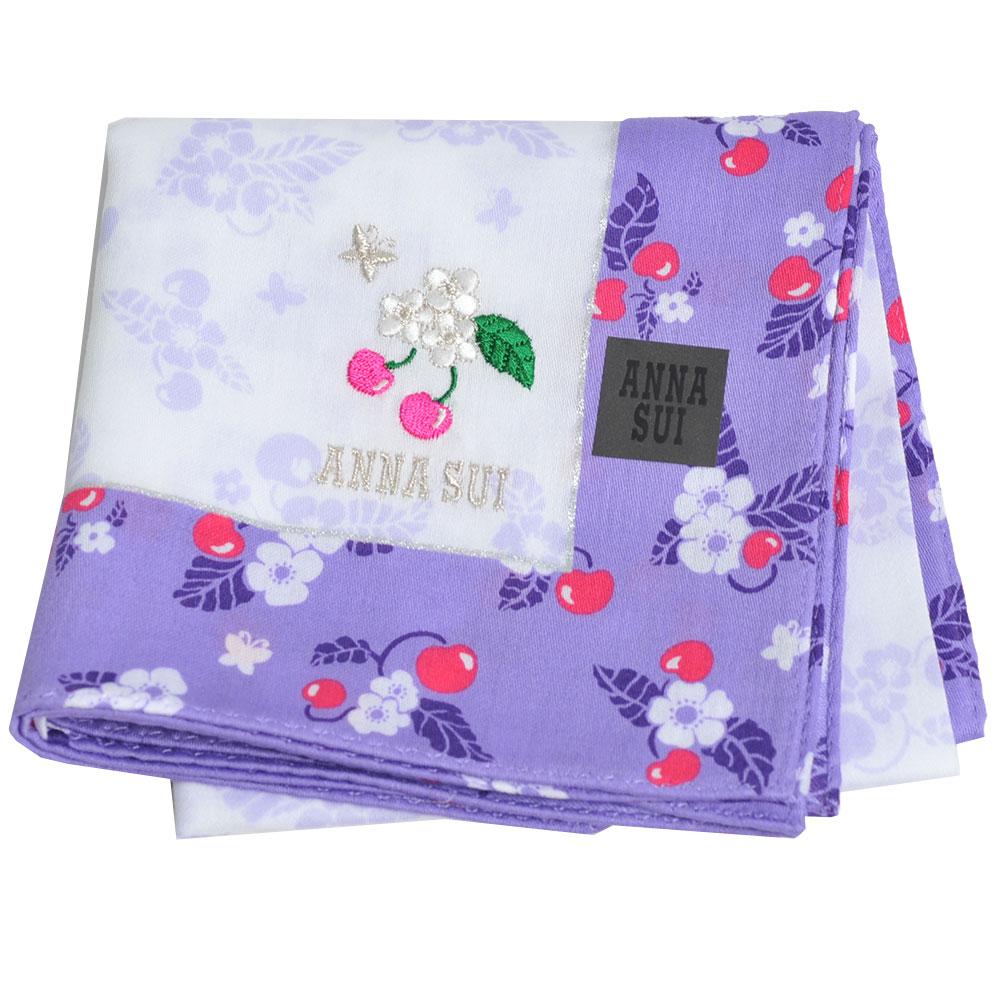 ANNA SUI 繽紛櫻桃可愛櫻桃蝴蝶字母LOGO刺繡帕領巾(紫色邊)