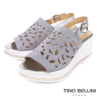 Tino Bellini 歐洲進口真皮寬帶雕花楔型涼鞋 _ 灰