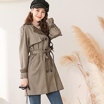 韓系修身版型翻領配色雙排釦附綁帶風衣外套-OB大尺碼
