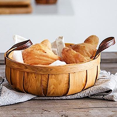 Homely Zakka 木趣食光日式創意木片手提編織籃/野餐籃/收納籃