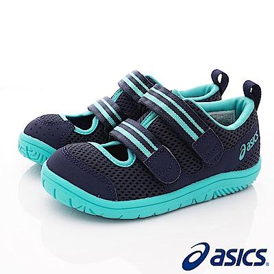 asics競速童鞋 雙絆帶透氣休閒款-121-400深藍(小童段)