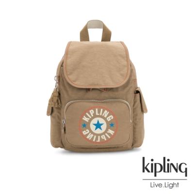 Kipling 復古卡其撞色大LOGO拉鍊掀蓋後背包-CITY PACK MINI