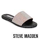 STEVE MADDEN SATISFY 水鑽鉚釘滾邊平底一字拖鞋-粉色