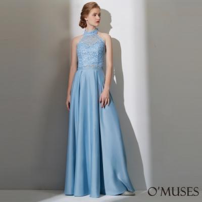 OMUSES 兩件式重工刺繡緞布長禮服