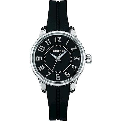 Tendence 天勢 Liliput 立體時標小錶徑女錶-黑/28mm TY073001