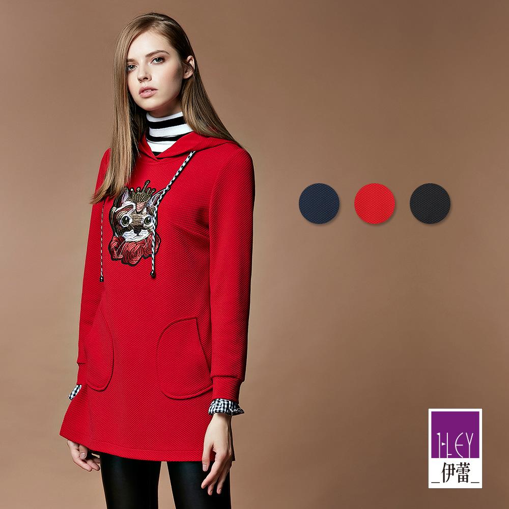 ILEY伊蕾 貓咪貼布繡連帽造型圓點緹花上衣(黑/藍/紅)