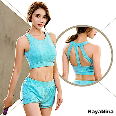 運動內衣 無鋼圈 極簡有型美背無鋼圈運動內衣M~XL(藍綠) Naya Nina