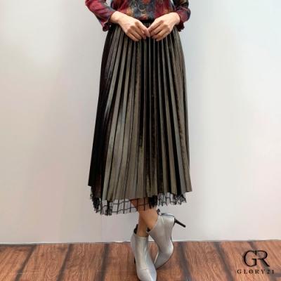 GLORY21 網紗絨布壓褶裙_深綠