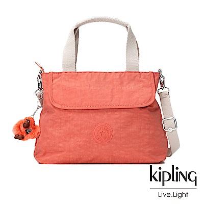Kipling粉橘素面手提側背包(中)