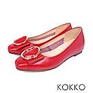 KOKKO -微涼空氣全真皮圓扣平底鞋-熱烈紅