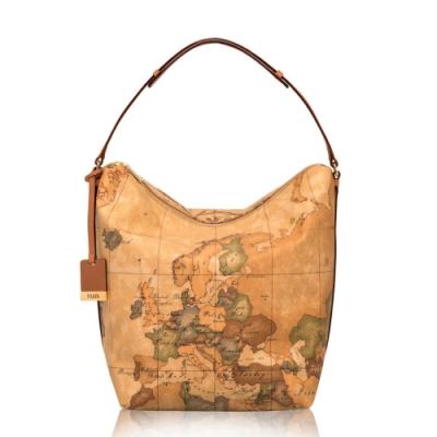 Alviero Martini 義大利地圖包 單把拉鍊手提肩背包(大)-地圖黃