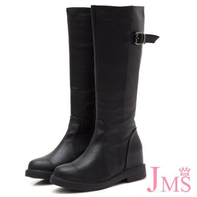 JMS-修身美型後環扣內增高拉鍊長靴-黑色