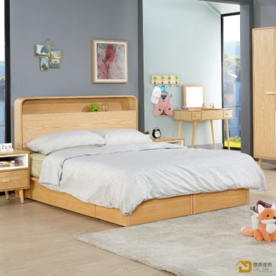 D&T 德泰傢俱 SUN簡約無印風5尺雙人床組 寬152X深203X高106.5(公分)