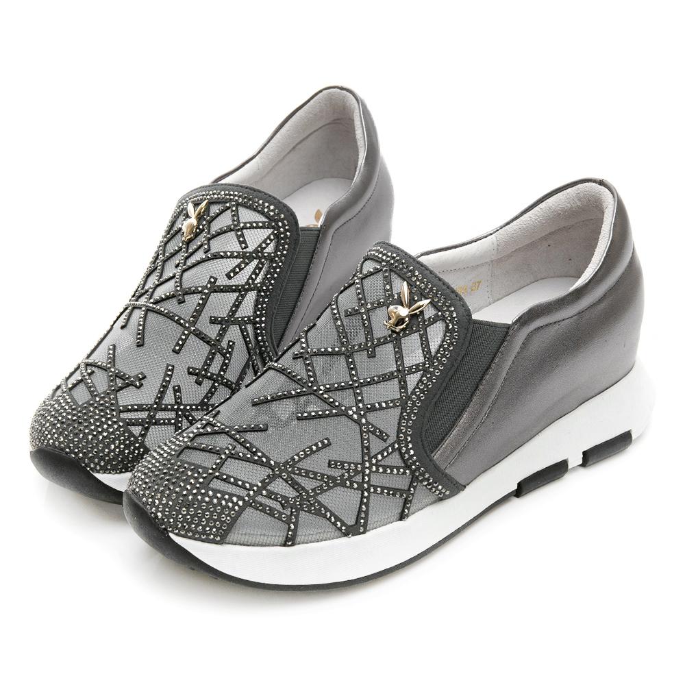 PLAYBOY 晶鑽奢華內增高休閒鞋-灰