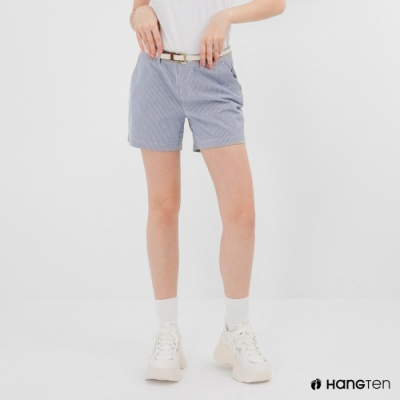 Hang Ten-女裝-REGULAR FIT條紋緹花附腰帶短褲-藍白條紋