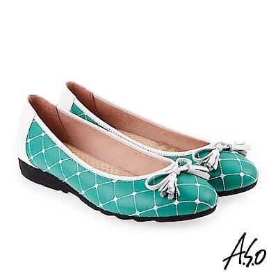 A.S.O 甜美樂章 經典菱格流蘇蝴蝶結平底鞋 綠