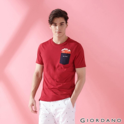 GIORDANO 男裝SUN AND SEA系列口袋印花T恤-42 標誌紅