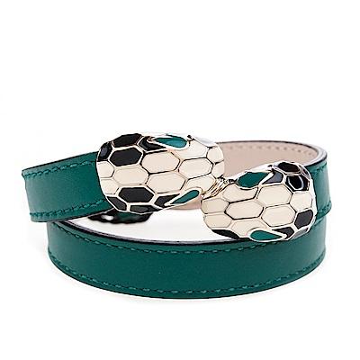 BVLGARI 寶格麗 Serpenti系琺瑯雙蛇頭小牛皮多圈手環(祖母綠/S)