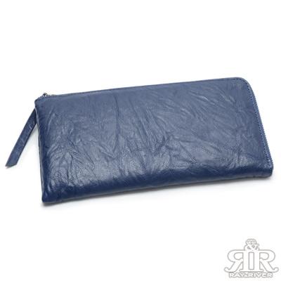2R 首爾空運★捏皺山羊皮護照拉鍊長夾 寶藍