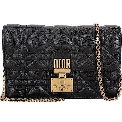 Dior DIORADDICT 頂級小羊皮籐格紋晚宴包(黑色)