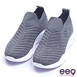 ee9 率性風采鑲嵌閃耀晶鑽厚底懶人休閒鞋 灰色