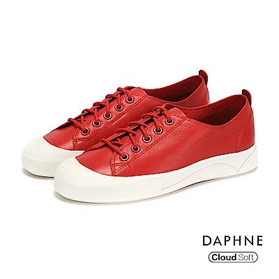 達芙妮DAPHNE 休閒鞋-牛皮綁帶刻紋厚底休閒鞋-紅