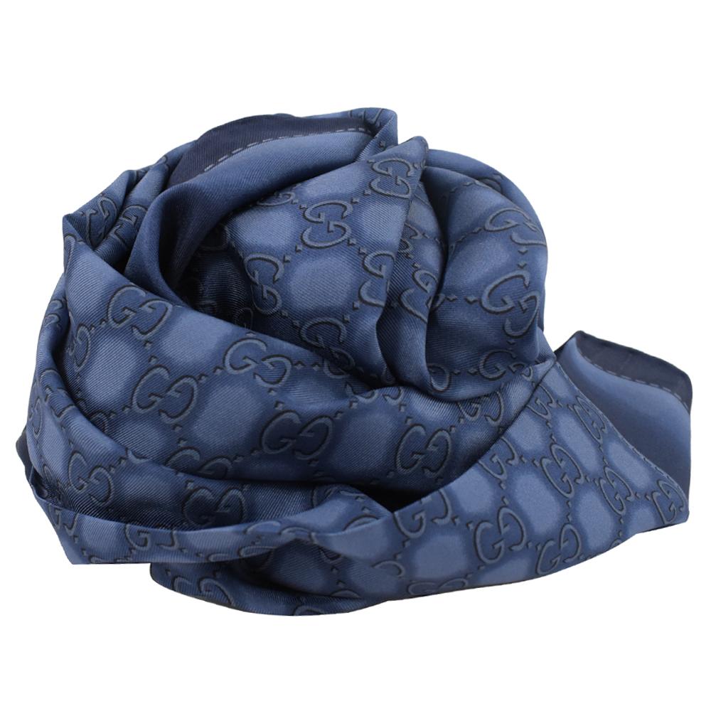GUCCI 染織LOGO絲綢大方巾/披肩(藍)GUCCI