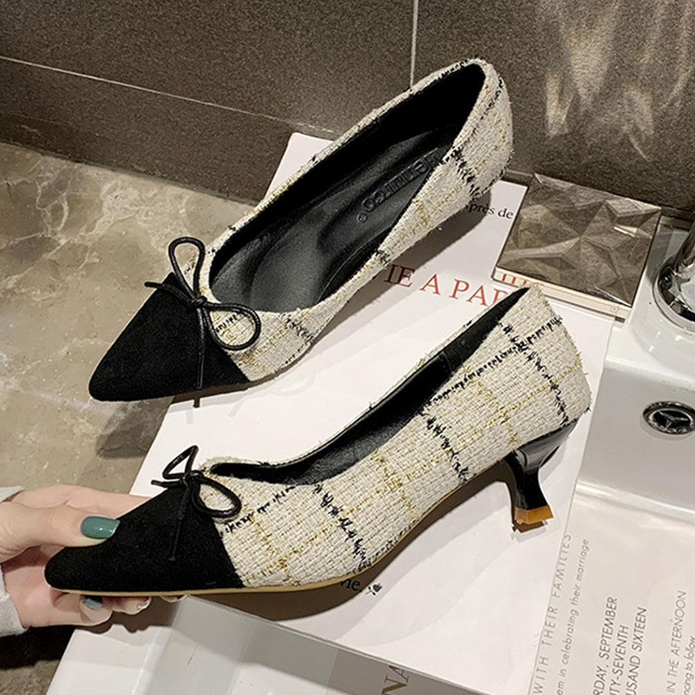 KEITH-WILL時尚鞋館 浪漫情愫方格尖頭細跟鞋-杏