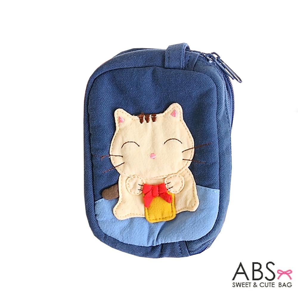 ABS貝斯貓 蝴蝶結貓咪 雙層零錢包 證件包(海洋藍)88-111