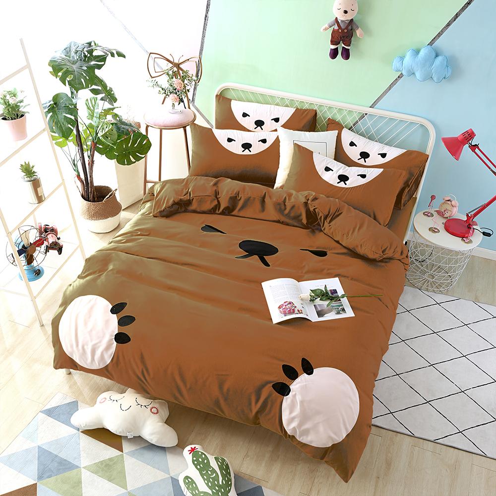 HUEI生活提案 柔絲絨被套床包四件組 加大 熊愛睏咖