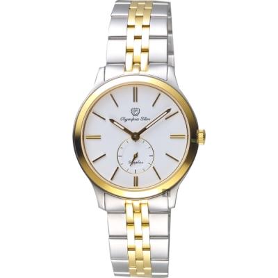 Olympia Star奧林比亞 小秒針女錶-白x雙色版/32mm