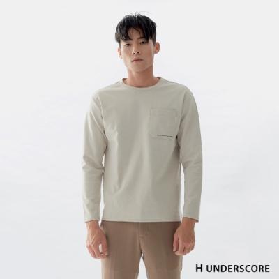 Hang Ten-男裝-口袋造型圓領長袖上衣-米