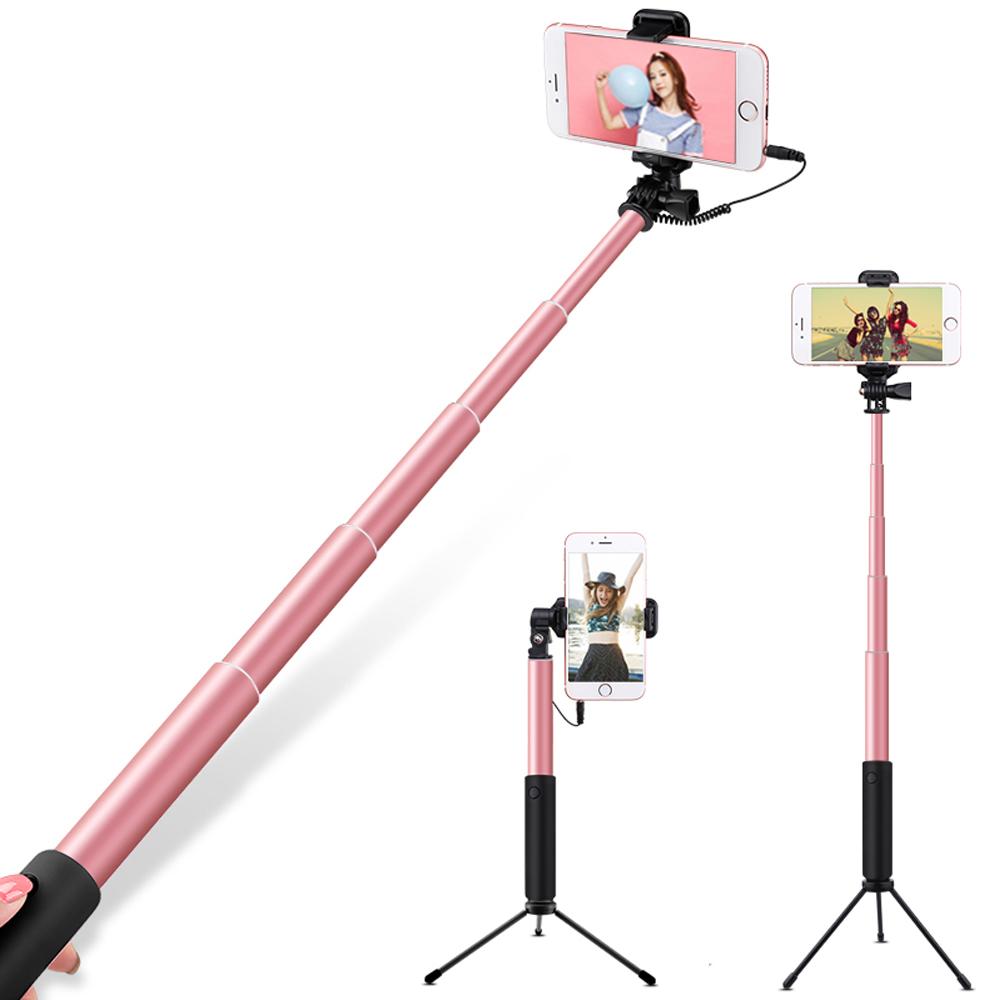 ANTIAN第五代 大鏡子 自拍棒 組合款 鋁合金 自拍桿 夾子式 線控自拍棒