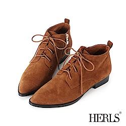 HERLS 個性復古 全真皮綁帶麂皮低跟短靴-棕色