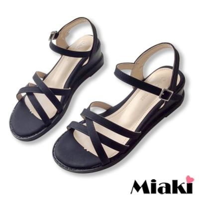 Miaki-楔型鞋百搭韓風細帶涼鞋-黑